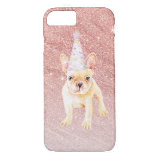 Cute funny french bulldog faux pink glitter iPhone 8/7 case