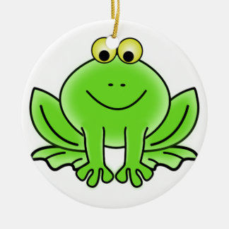 Cute Funny Frog Round Ceramic Ornament
