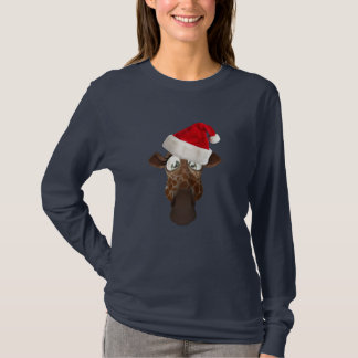 Cute Funny Giraffe in Christmas Santa Hat T-Shirt