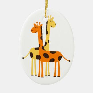 Cute Funny Giraffe Pair Ceramic Oval Ornament