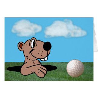 Cute, Funny Gopher & Golf Ball Birthday Card