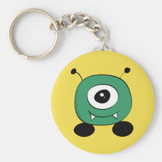 Cute Funny Green Alien Basic Round Button Keychain