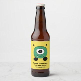 Cute Funny Green Alien Beer Bottle Label