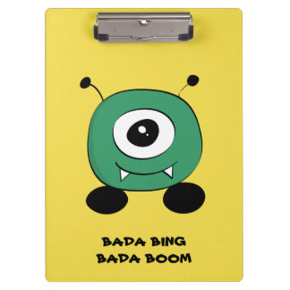 Cute Funny Green Alien Clipboard