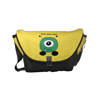 Cute Funny Green Alien Courier Bag