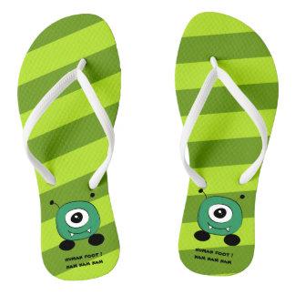 Cute Funny Green Alien Flip Flops