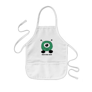 Cute Funny Green Alien Kids Apron