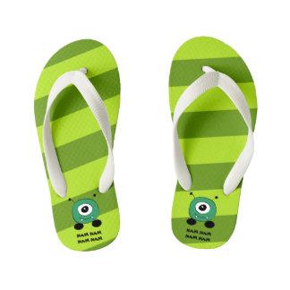 Cute Funny Green Alien Kid's Flip Flops