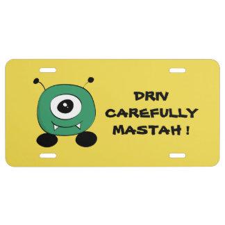 Cute Funny Green Alien License Plate
