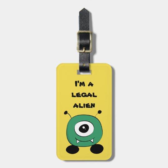 Cute Funny Green Alien Luggage Tag