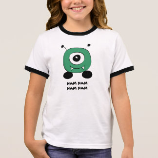 Cute Funny Green Alien Ringer T-Shirt