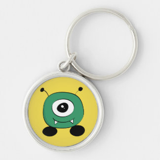 Cute Funny Green Alien Silver-Colored Round Keychain