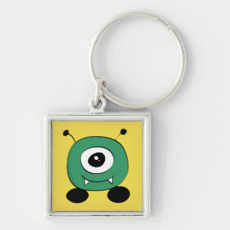 Cute Funny Green Alien Silver-Colored Square Keychain