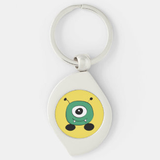 Cute Funny Green Alien Silver-Colored Swirl Keychain