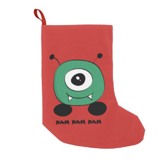 Cute Funny Green Alien Small Christmas Stocking