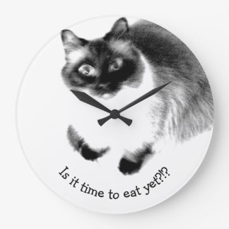 Cute Funny Is It Time To Eat Yet Kitty Wallclocks