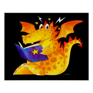 Cute Funny Kids Magical Baby Dragon Art Poster