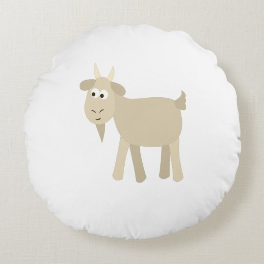 Cute Funny Little Goat Round Pillow