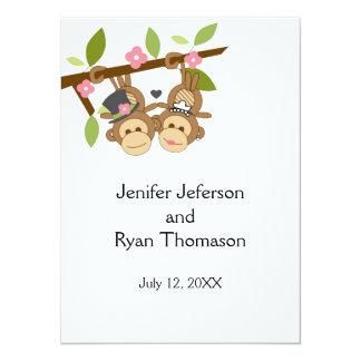 cute funny monkey couple wedding Invitation