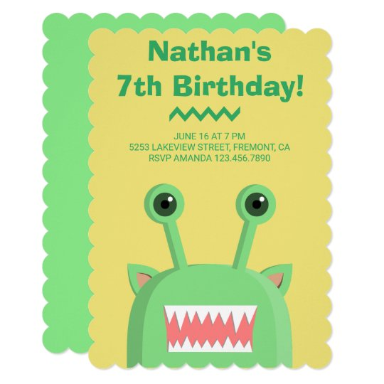 Cute Funny Monster Kids Birthday Party Invitation