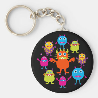 Cute Funny Monster Party Creatures in Circle Basic Round Button Keychain