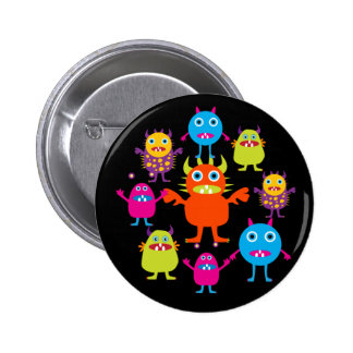 Cute Funny Monster Party Creatures in Circle Pins