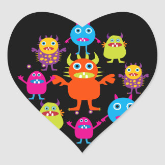 Cute Funny Monster Party Creatures in Circle Heart Sticker