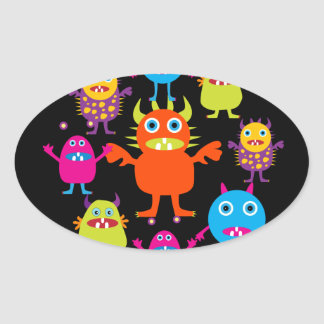 Cute Funny Monster Party Creatures in Circle Oval Sticker