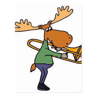 Cute Funny Moose Playing Trombone Art Postcard