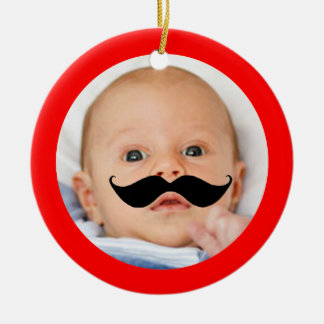 Cute Funny Moustache Baby Novelty Photo Custom Ceramic Ornament