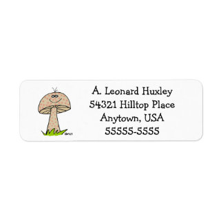 Cute Funny Mushroom Cartoon Fun Guy Return Address Return Address Label