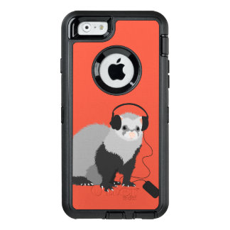 Cute Funny Music Lover Ferret OtterBox Defender iPhone Case