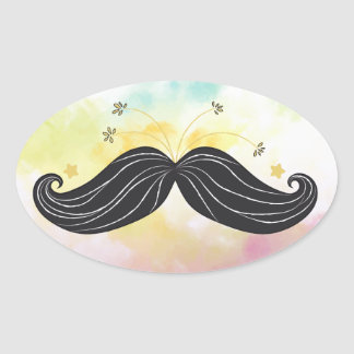 Cute Funny mustache colorful background drawn Oval Sticker