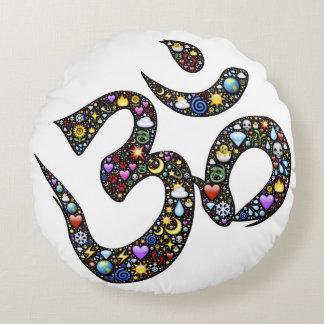 Cute funny ohm emoji om namaste yoga symbol emojis round pillow