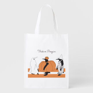 Cute Funny Penguin Animal Halloween Personalized Reusable Grocery Bag
