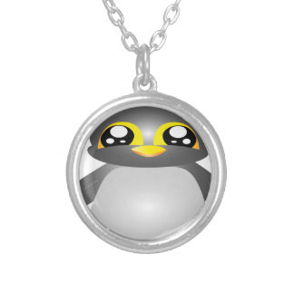 cute funny penguin animal silver plated necklace