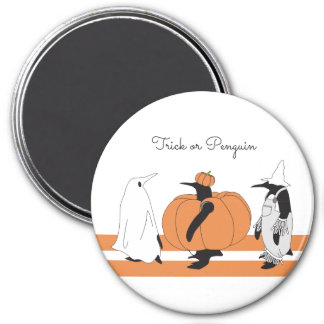 Cute Funny Penguin Halloween Personalized 3 Inch Round Magnet
