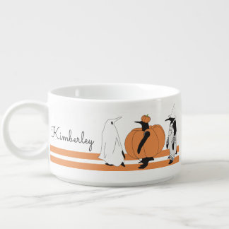 Cute Funny Penguin Halloween Personalized Name Chili Bowl