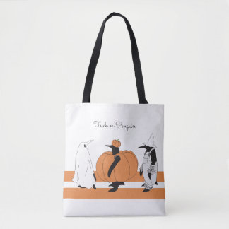 Cute Funny Penguin Halloween Personalized Tote Bag