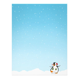 Cute Funny Penguin Winter - Letterhead Stationery