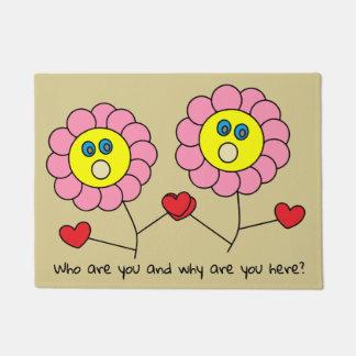 Cute Funny Pink Flowers Drawing Doormat