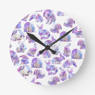 Cute funny rabbits wall clock