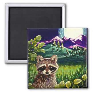 Cute Funny Raccoon Moon Mountains Creationarts LRA Magnet