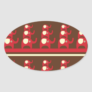 Cute Funny Red Elephants Stacked on Top of Each Ot Oval Sticker