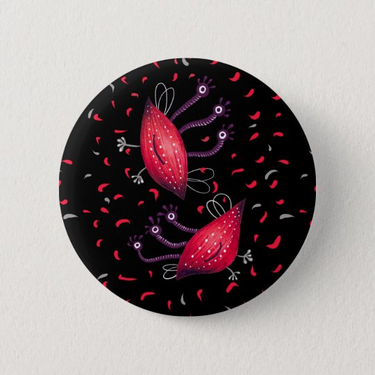 Cute Funny Red Three Eyed Cartoon Aliens 2 Inch Round Button