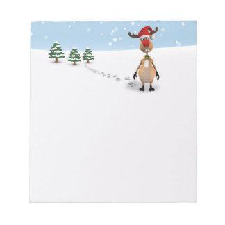 Cute Funny Reindeer Christmas Tree - Notepad