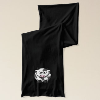 Cute Funny Round Cartoon Cow with Pink Nose Scarf