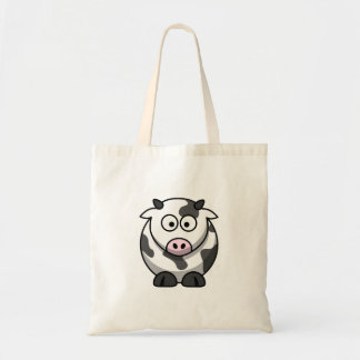 Cute Funny Round Cartoon Cow with Pink Nose Tote Bag