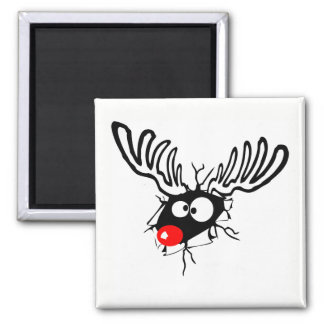 Cute funny Rudolph the red nosed Christmas cartoon Magnet
