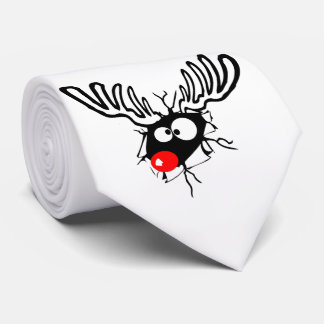 Cute funny Rudolph the red nosed Christmas cartoon Tie